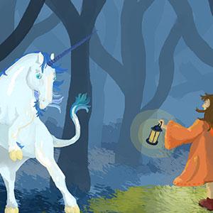 Forêt enchantée licorne illustration