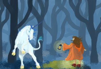 Illustration voyageuse et licorne