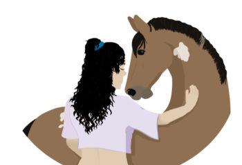 Illustration cheval cavaliere